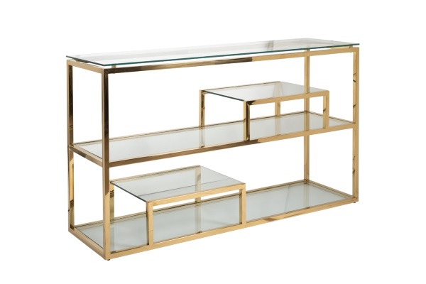 Консоль со стеклом (цвет золото) GY-CST8005GOLD купить в салоне-студии мебели Барселона mnogospalen.ru много спален мебель Италии классические современные